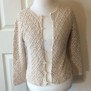 Eddie Bauer  Crocheted Cropped Sweater Cardigan